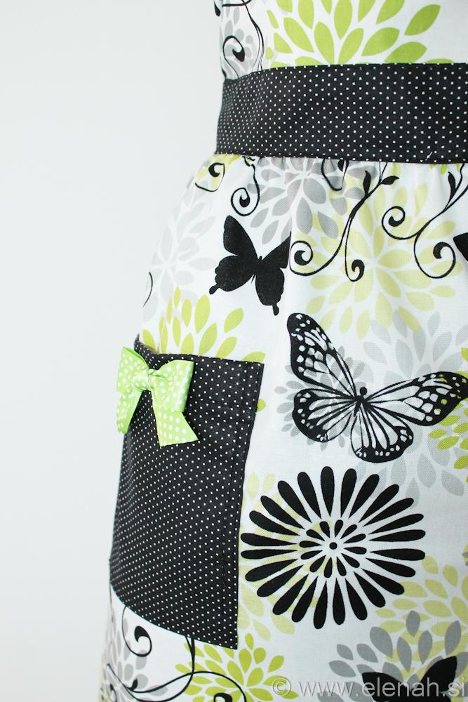 Predpasnik metulji bela zelena črna Apron butterflies white green black cotton 3